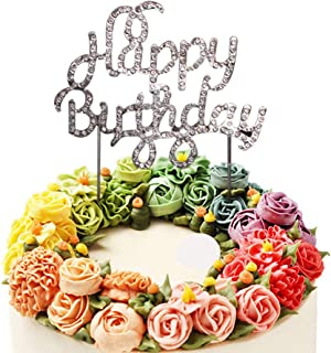 Sunny ZX Happy Birthday Rhinestone Cake Topper, Flashing silver,For Birthday Party Decoration.