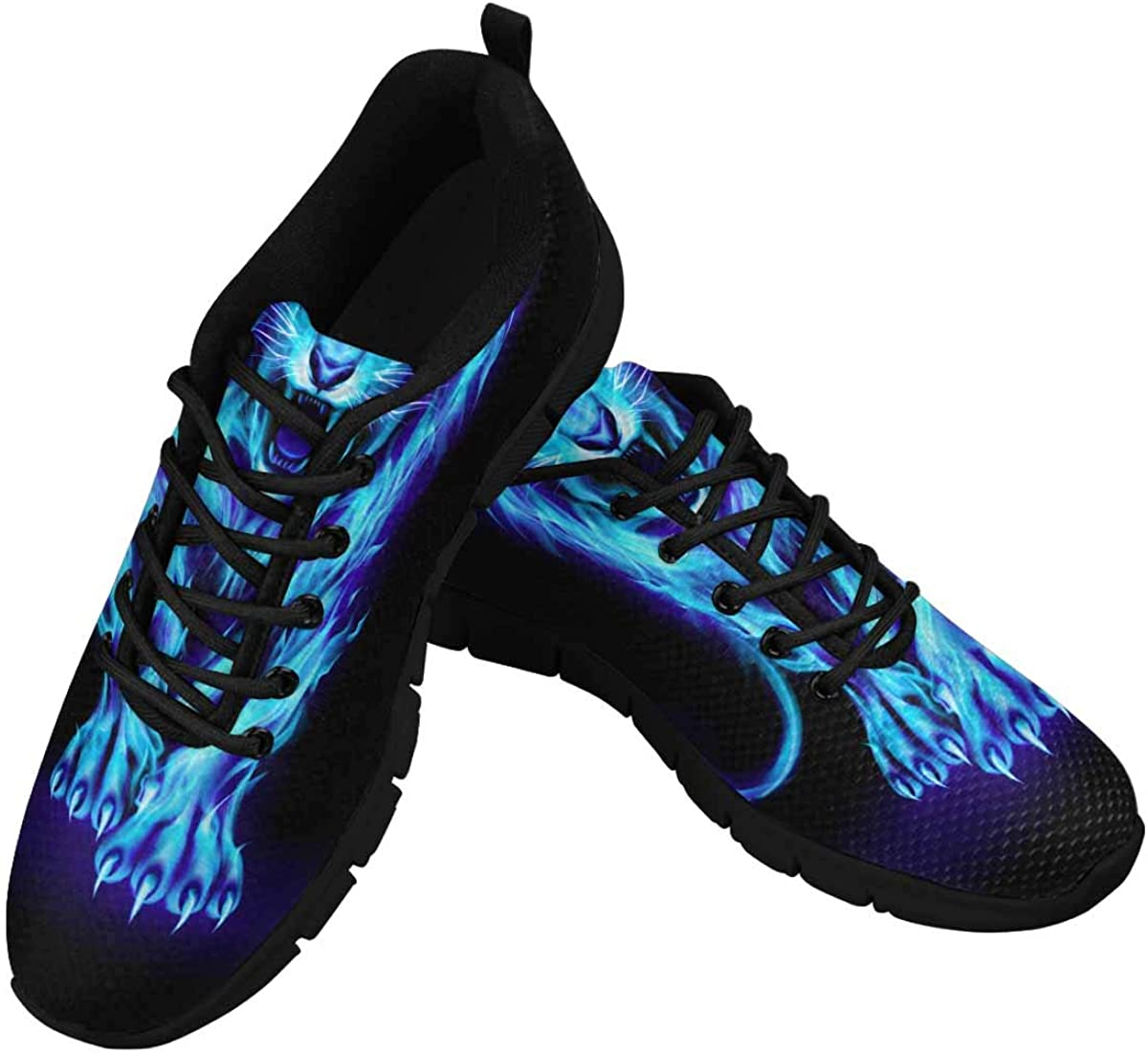 INTERESTPRINT Infuriated Lion with Blue Fire Women's Athletic Mesh Breathable Casual Sneakers