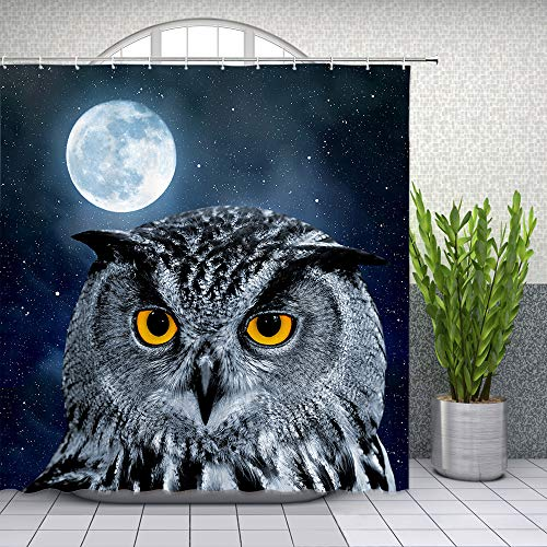 Owl Design Shower Curtain with Moon and Starry Night Sky