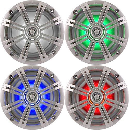 "1- Pair (2-Speakers) Kicker 6.5"" 195W LED Marine Audio Coaxial Stereo Multi Color LED Lights, Silver Grills"