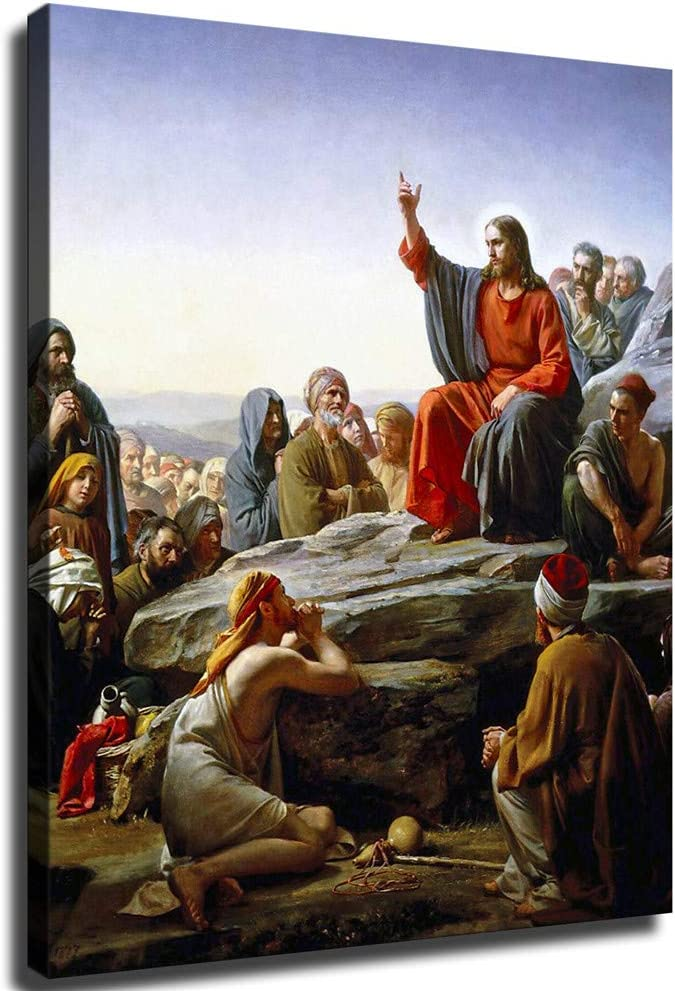 Jesus Christ's Sermon On The SALE開催中 Beatitudes Mount Wall 贈答 Poster Bible
