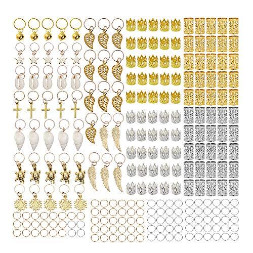 HSDCK 250 Stück Haar-Flechten-Ring Metallhaar-Cuffs Kupfer Haar Dreadlocks und Anhänger-Charme-Haar-Klipp-Stirnband-Zusätze Gold-und Silber