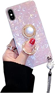BONTOUJOUR iPhone 7 Plus/iPhone 8 Plus case, Luxury Glitter Pearly-Lustre Shell Pattern Soft TPU Cover Case Sparkle Bling Crystal Back with Tassel +Pearl Diamond Ring Holder - Pink