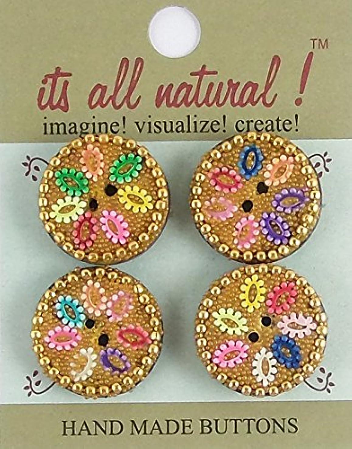 Handmade Natural Glass Cavier Buttons- Sewing Quilting Knitting Crochet Renaissance Dance Hawaiian Bridal Costumes Outfit Drapery- Multicolor- 25mm - Glass Caviar Beads Flower Design- 4 pcs/pk