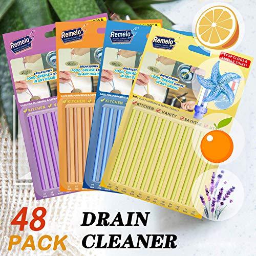 Drain Sticks Drain Stix Drain Cleaner & Deodorizer Sticks Drainstix for Clogs Kitchen Bathroom Sinks Unclog Eliminate Odor Septic Tank(48pack)