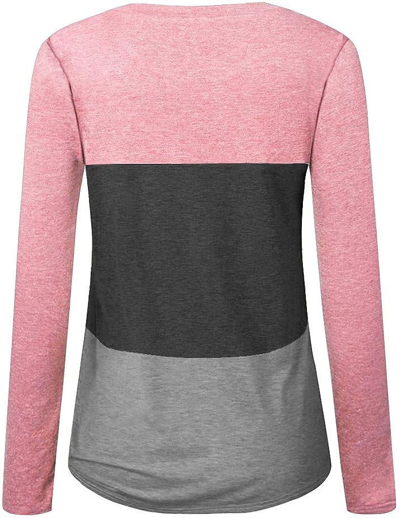 ROVNKD Crop Tops Damen Frauen Arbeiten Lose Lange Hülse O-Ansatz Beiläufiges Festes T-Shirt Bluse Tops Pink
