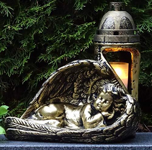 ♥ Grablaterne Grablampe Engel Massiv incl. Grabkerze Grabdekoration Grablaterne Grablicht Grabschmuck Grableuchte Laterne