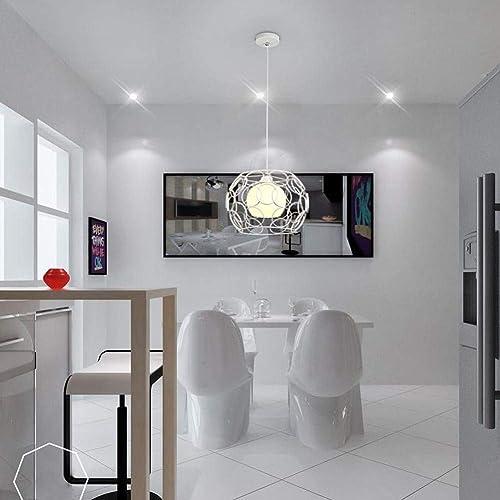 WangLei Contemporain Simple en Verre Pendentif Country House Anneaux Conception Pendentif Lampe Suspendue Lampe Creative Loft Pendentif Lampe Fer Cube Lustre De Poisson Rétro Edison Lampe E27