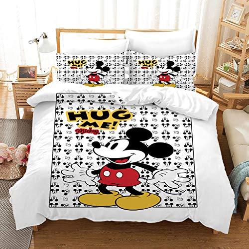 SSIN Disney Theme Funda de edredón para niños, diseño de Minnie Mickey Mouse impreso, adecuado para niños y niñas, dormitorio (C7,220 x 260 cm)