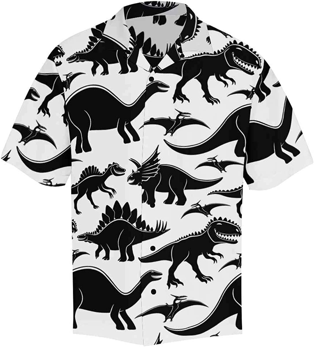 InterestPrint Men's Casual Button Down Short Sleeve Cute Panda Hawaiian Shirt (S-5XL)