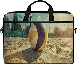 Laptop Sleeve Case,Beach Volleyball Sea Sand 14-14.5 inch Briefcase Messenger Notebook Computer Bag with Shoulder Strap Handle