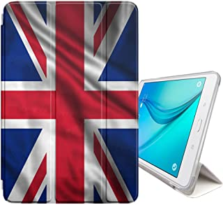 FJCases United Kingdom UK British Waving Flag Smart Cover Stand + Back Case with Auto Sleep/Wake Function for Samsung Galaxy Tab S2-8.0