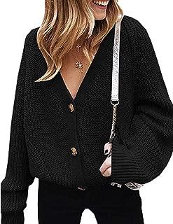 Women's V Neckline Button Down Knitwear Lantern Sleeve...
