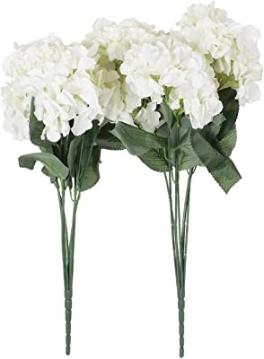 Fourwalls Polyester Fabric and Plastic Artificial Hydrangea Floral Bunches (20 cm x 20 cm x 70 cm, White, Set of 2)