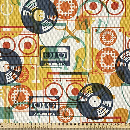 ABAKUHAUS Musik Stoff als Meterware, Kassettenradio Vinyl, Seidiger Satin Stoff Zum benähen von Heimtextilien, 2M (148x200cm), Mehrfarbig