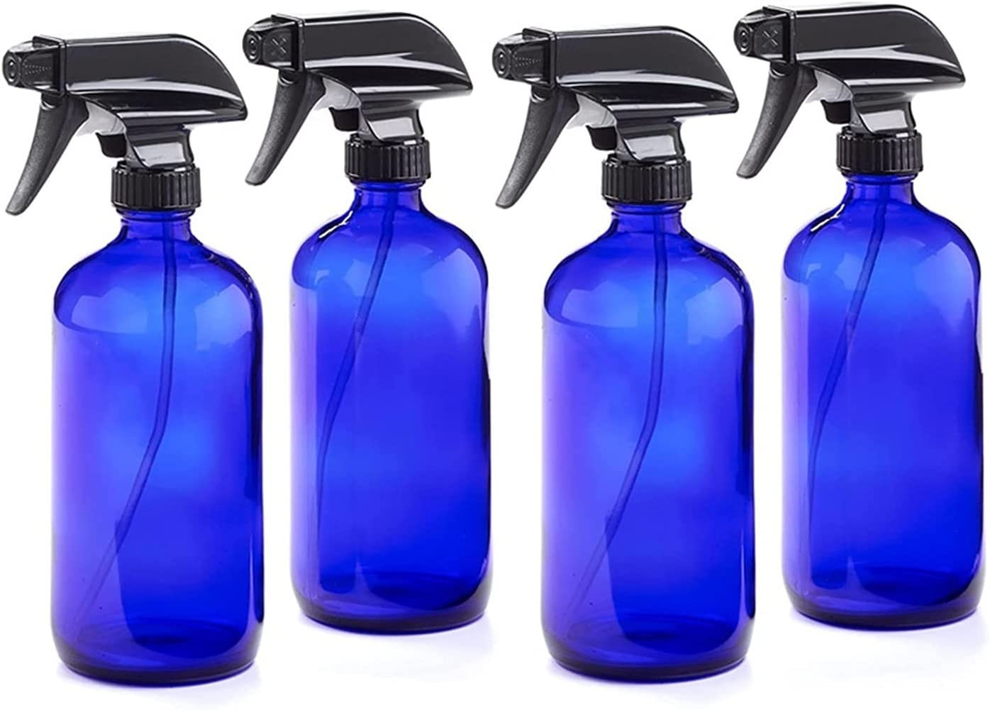 YWSZY 4 Paquete 250ml Botella de espray de Cristal Azul vacío con pulverizador de gatillo Tapa de Almacenamiento Etiquetas de Pizarra para Productos de Limpieza Plantas 8 oz Dispensadores de loción y