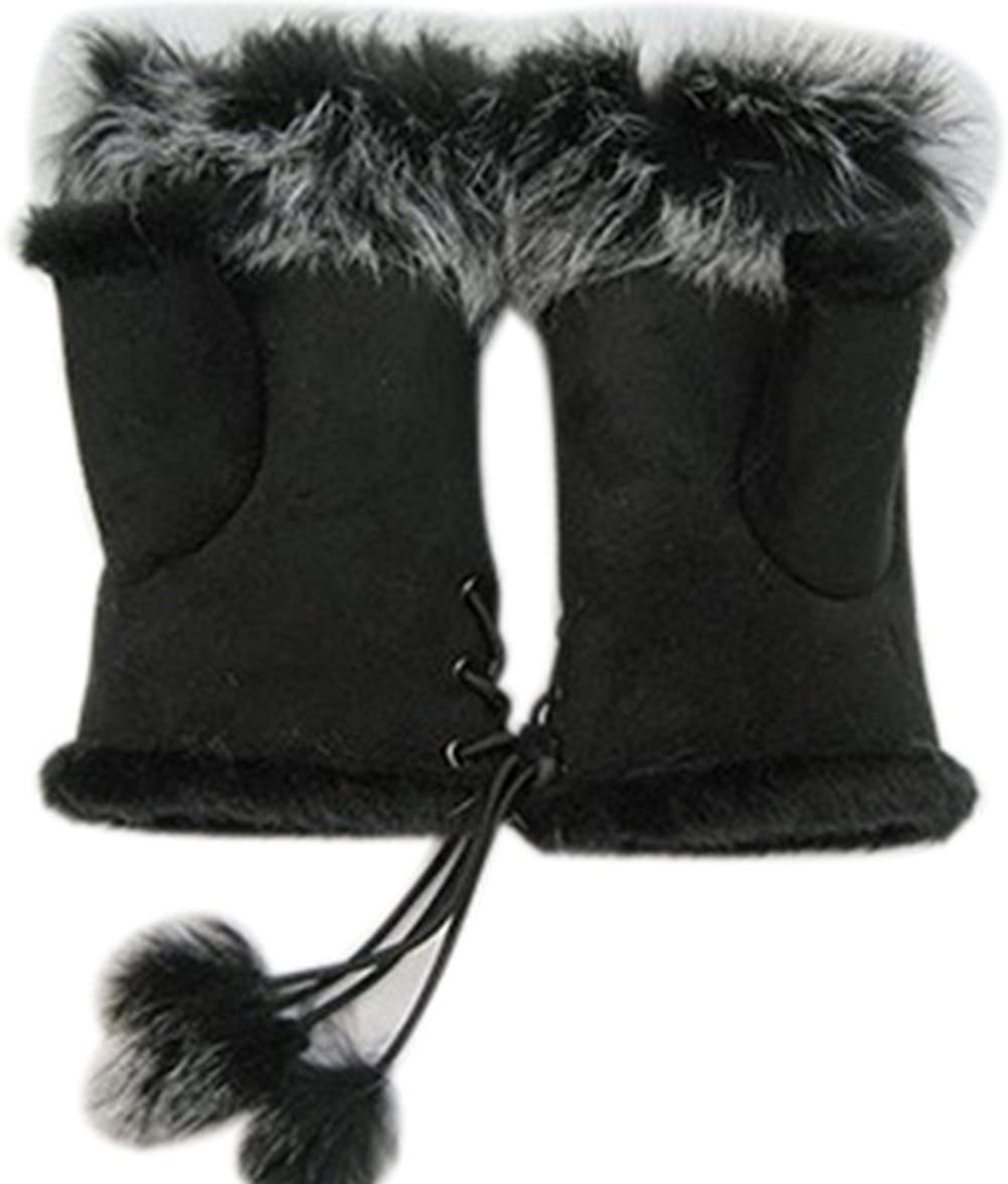 Ieasysexy Winter Hand Warmer Faux Rabbit Fur Leather Lady Fingerless Suede Mittens Women Winter Wrist Gloves