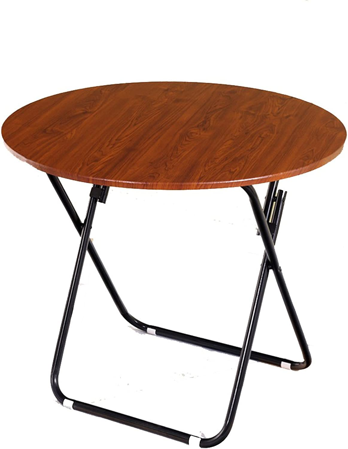 HAIZHEN table Snacks Round Folding Table Desk Office Multifunction Wood Dining Table and Late-Metal Stents (Size   80  80CM)