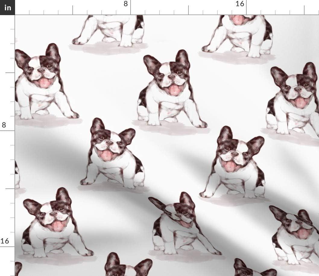 1 year warranty Spoonflower Fabric - Happy French Dog Bulldog White Puppy Rapid rise Black