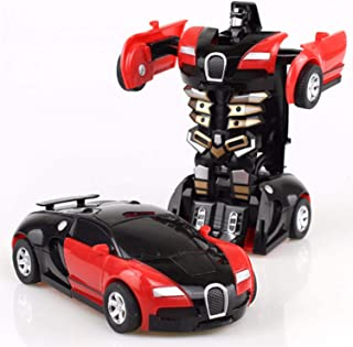 Saubhagya Global Red Deformation Car Toys Automatic Transformation Robot Plastic Vehicles Boys Toy Model Cars Kids Baby Gi...