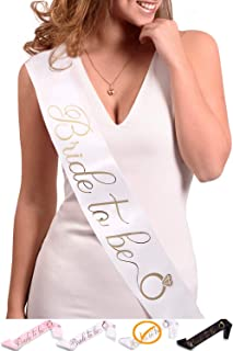 Bride to Be Sash - Bachelorette Party Shower Gift - Bridal Accessories - Wedding Gift Decorations Favors - Engagement Present (White/Gold)