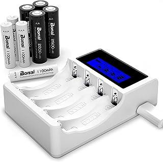 BONAI Batteriladdare 4 Kortplats AA/AAA Uppladdningsbar Batteriladdare LCD Batteriladdare med 4 AA NI-MH Uppladdningsbart ...