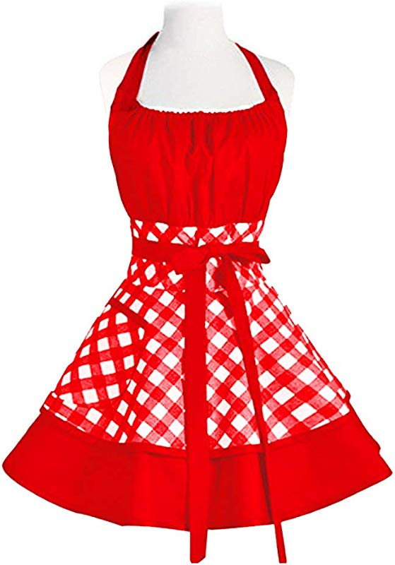 Pu Ai Vintage Cute Aprons For Women Cotton Cooking Aprons Plus Size Retro Bib Kitchen Apron With Extra Ties Pockets 22 30 Inch Red