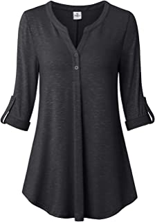 UXELY Women's 3/4 Cuffed Sleeve Shirt Casual V Neck Pleated Flowy Loose Fit Swing Tunic Tops
