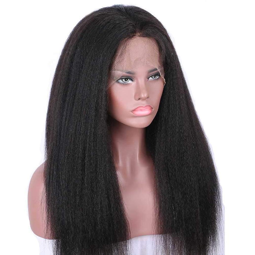 あえて意識的びっくりした150%密度かつらブラジルのストレートヘア360レースフロント人毛ウィッグ黒人女性ナチュラルカラーウィッグ