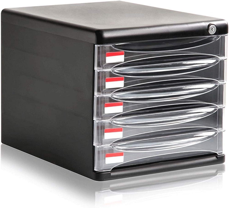 5-Tier File Cabinets with Lock Black Drawer Type Transparent Desktop Data Organization Storage Box Plastic anQna