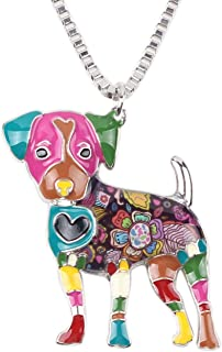 "BONSNY Love Heart Enamel Zinc Alloy Metal Jack Russell Necklace Dog Pets Animal Pendant Unique Design 18"""