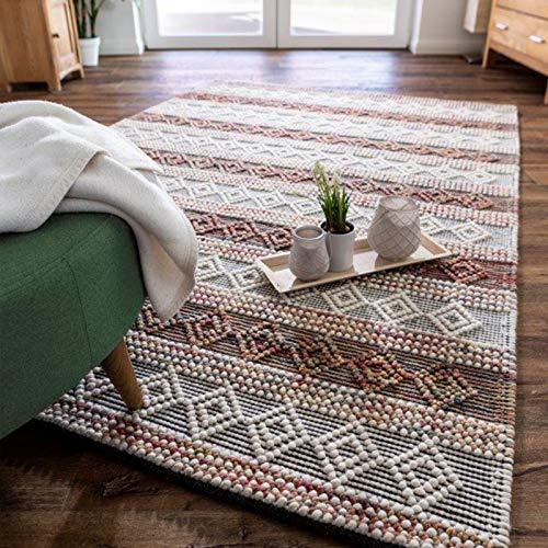 Luxor Living Handwebteppich Aalborg Wollteppich Handarbeit Unikat Ethno-Design Hygge, Farbe:Creme-Multi, Größe:160 x 230 cm