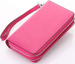 Leather Women's Wallet Cross-Grain Leather Double Zipper Hand Purse Multi-Function Key Wallet Waterproof (Color : Red, Size : S)