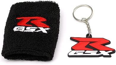 MOCO Motorcycle Black Fluid Brake Reservoir Sock Cover with KeyChain, Key Ring,Fit For Suzuki GSXR, GSX-R, 600, 750, 1500, 1300, Hayabusa, Katana, TL 1500, SV 650, Sports Wristband,Sweatband -Black