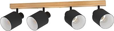 EGLO Luminaire plafonnier Batallas avec 4 spots orientables en noir et blanc, lampe de plafond naturelle au style scandinave, en bois, métal et tissu, douille E27