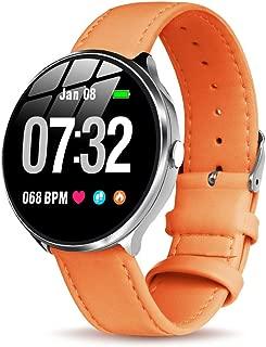 【GOKOO】スマートウォッチ レディース 可愛い レザー 心拍数  活動量計 血圧 防水  ストップウォッチ  歩数計  電話着信/LINE通知 IOS/Android対応