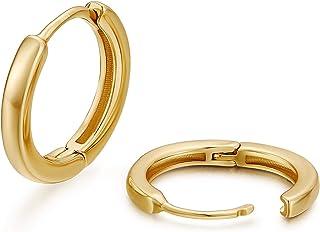 YUN 18K الذهب مطلي 925 الفضة الاسترليني بوست أقراط هوب صغيرة للنساء الغضروف هاغي الأذن مجوهرات للبنات