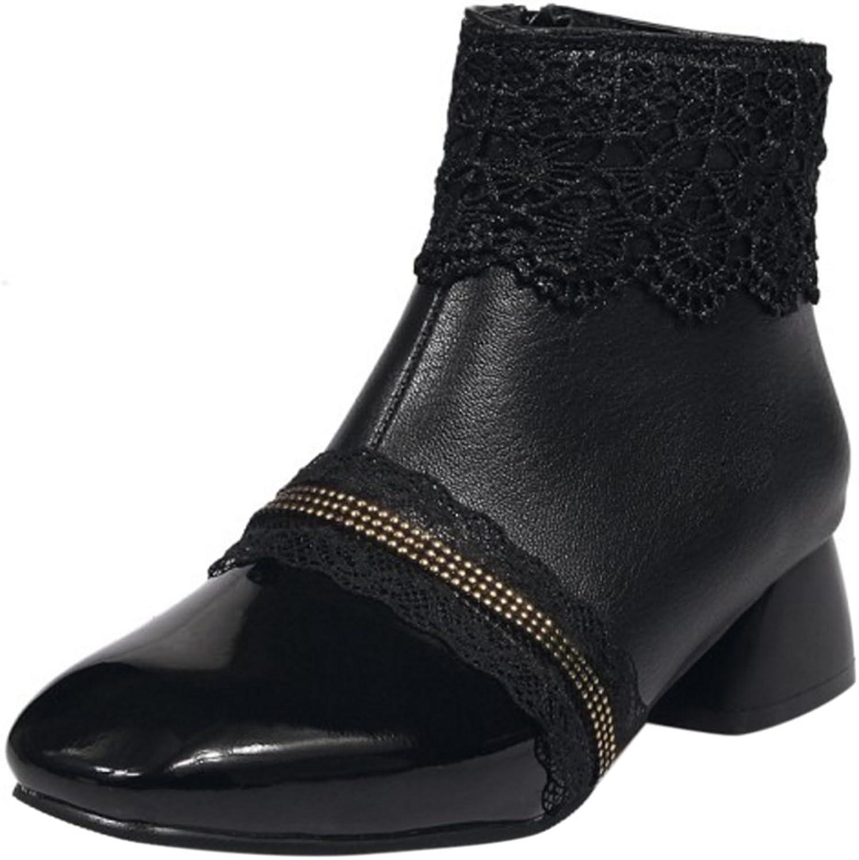 KemeKiss Women Fashion Square Toe Ankle Dress Boots