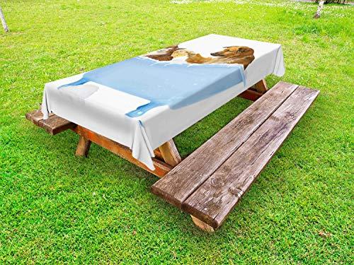 ABAKUHAUS Komisch Outdoor-Tischdecke, Hund und Katze in der Badewanne, dekorative waschbare Picknick-Tischdecke, 145 x 265 cm, Mehrfarbig