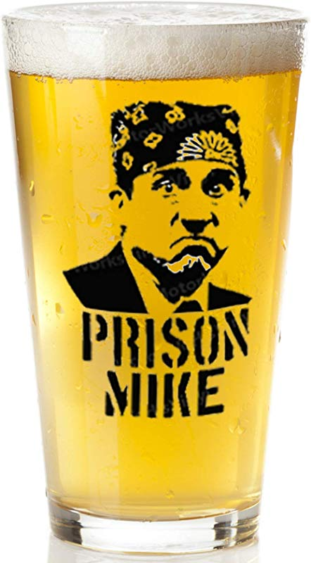 Prison Mike Beer Glass The Office Merchandise Funny Mug For Men And Women Michael Scott Craft Beer Glasses