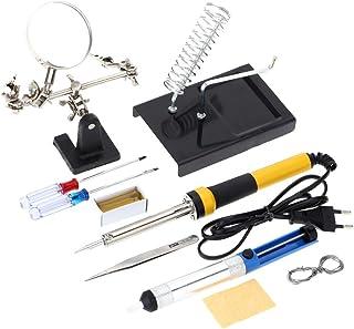 KKmoon - Kit soldador doméstico Z606220V-240V, 60W con 10 instrumentos de soldador, como lupa de aumento, hilo soldador, ventosa de soldar y colofonia