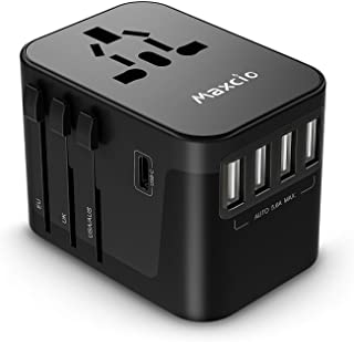 Maxcio International Universal Travel Power Adapter with 5.6A Smart Power 6 in 1 Worldwide Wall Charger European Travel Plug Adapter for USA EU UK AUS 150+ Countries Phone Laptop