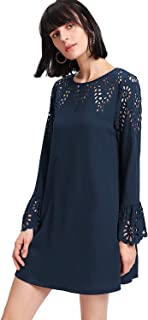 Women's Solid Eyelet Casual Shift Flounce Bell Sleeve Hollow Party Dress