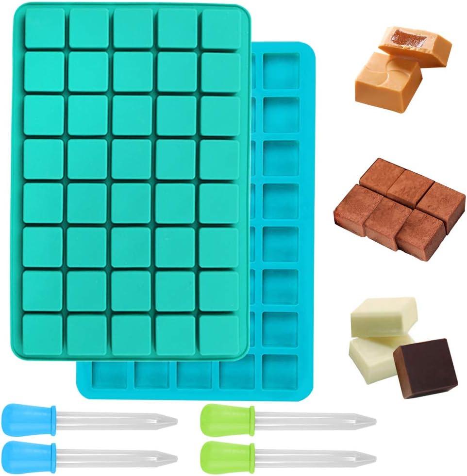 FineGood 2 Paquete de 40 Cavidad caramelo del silicón de los moldes con cuentagotas, Jalea silicón moldea la pastilla de goma Barra de chocolate Cubito de hielo