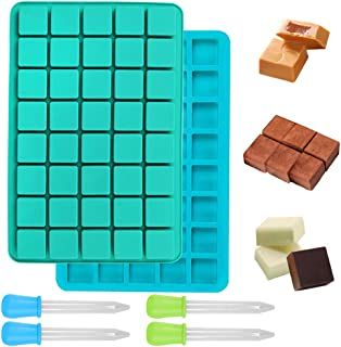 2 Pack 40-Cavity Candy Molds Silicone with 4 Droppers, FineGood Gummy Square Silicone Molds Nonstick Chocolate Bar Moulds ...