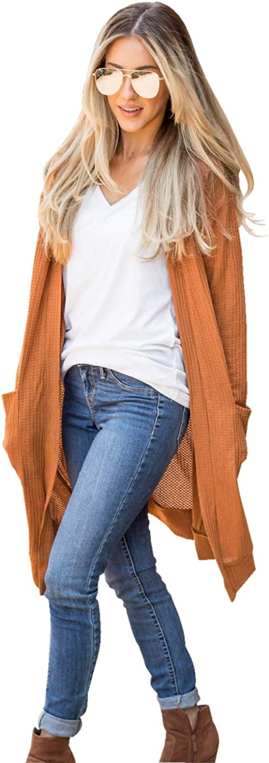 Tickled Teal Women's Long Sleeve Knit Open Front Sweater Cardigan with Pockets