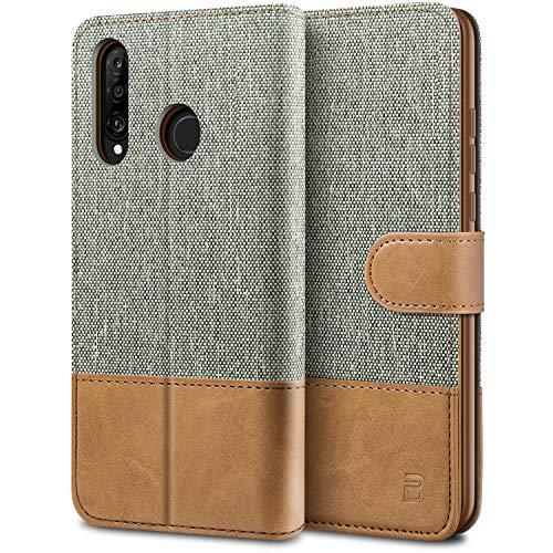 BEZ Handyhülle für Huawei P30 Lite Hülle, Tasche Kompatibel für Huawei P30 Lite, Schutzhüllen aus Klappetui mit Kreditkartenhaltern, Ständer, Magnetverschluss, Grau