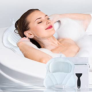 Bath Pillow for Tub, Gugusure Bathtub Pillows for Neck, Shoulder and Head Support, Upgraded 4D Air Mesh Spa Bath pillows w...