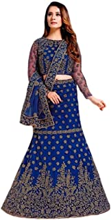 Step N Shop Women Net Lehenga Choli Satin Embroidery Indian Bollywood Designer Ready to Wear Funzione di diserbo Impegno R...
