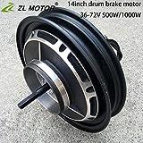 Motore per mozzo brushless elettrico da 14 pollici per mountain bike 36V / 48V / 60V / 72V 500W / 1000W freno a tamburo forte motore con mozzo ruota (500W36V)